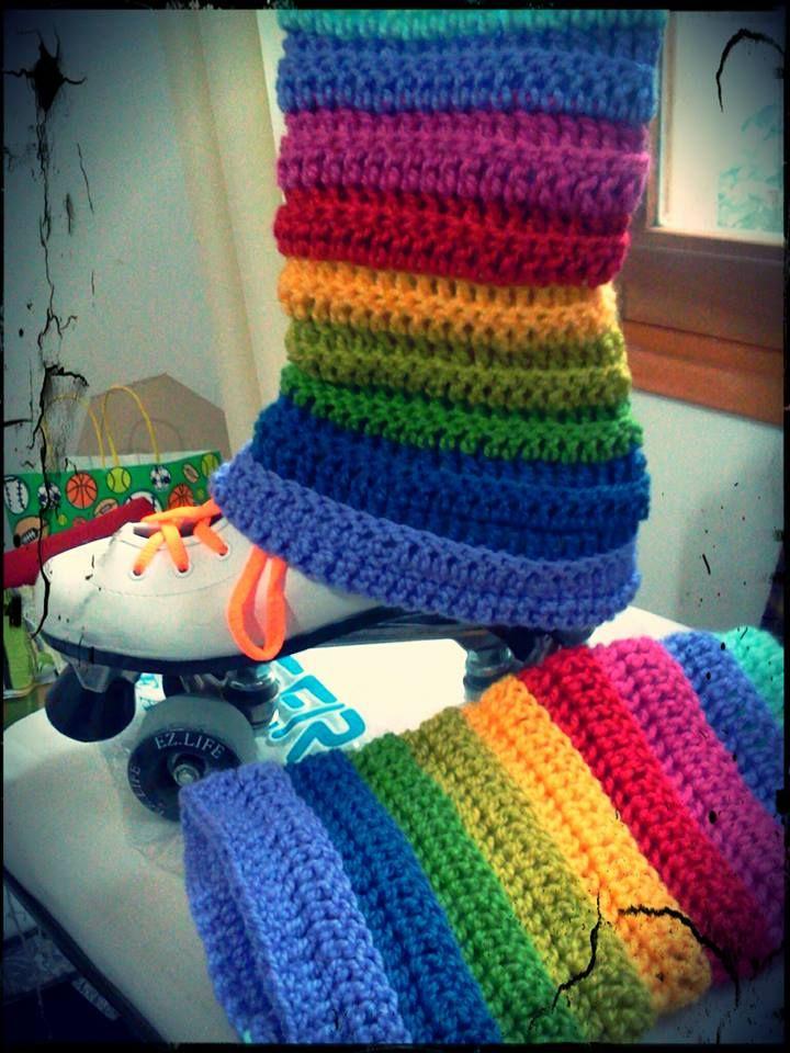 polainas o cubrepatines arcoiris al crochet  ebe6be1e30b