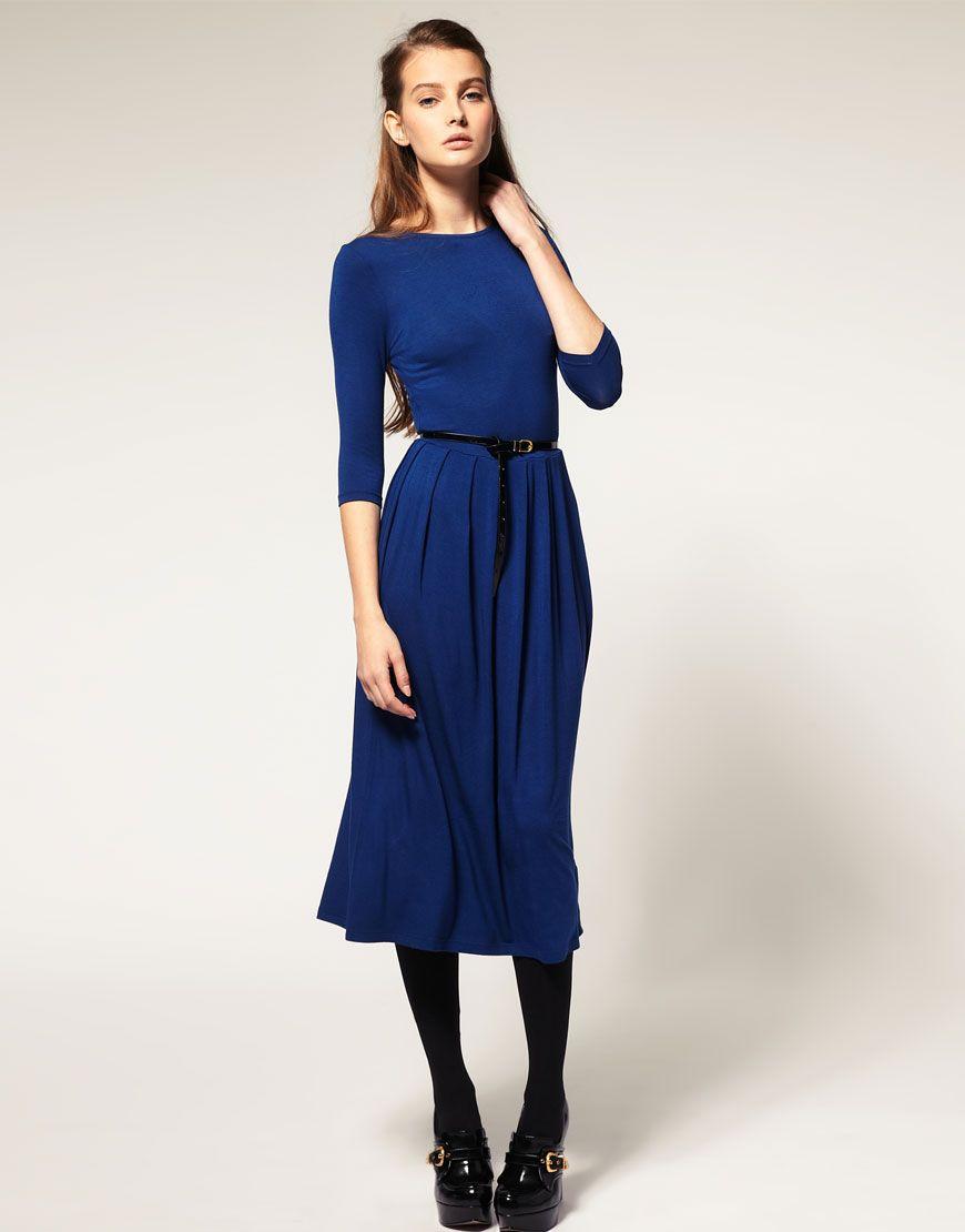 ASOS - Robe mi-longue à manches 3 4   Dresses and shoes   Pinterest ... 6272ac4295f8