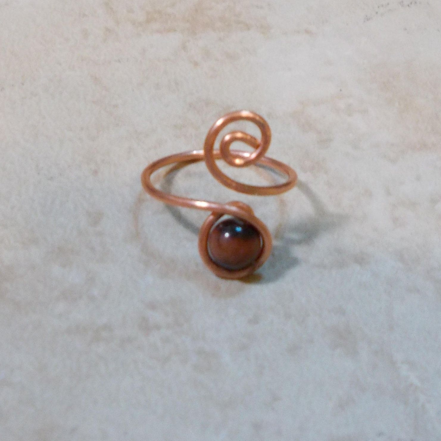 Tiger Eye Copper Swirl Wrap Ring Handmade Copper Ring Midi Ring ...