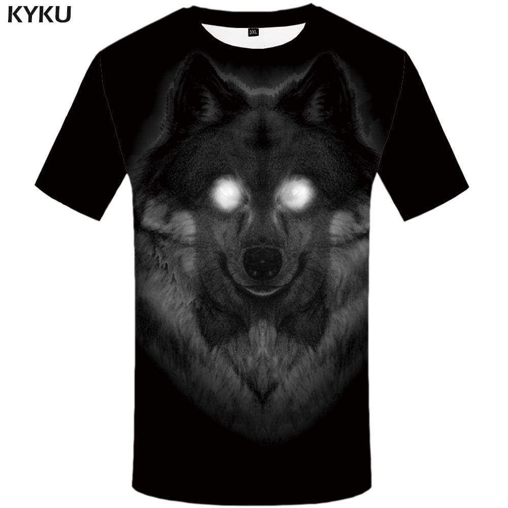 Photo of Wolf T shirt Men Black T-shirt 3d Animal Tshirts Print Punk Rock Tshirt Anime Gothic T shirts Funny Mens Clothing Casual Unisex – S