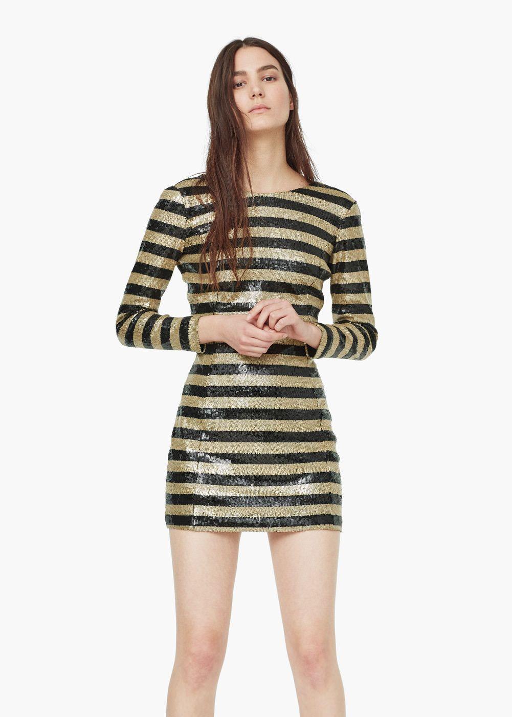 Sequin contrast-bodice dress   Bodice