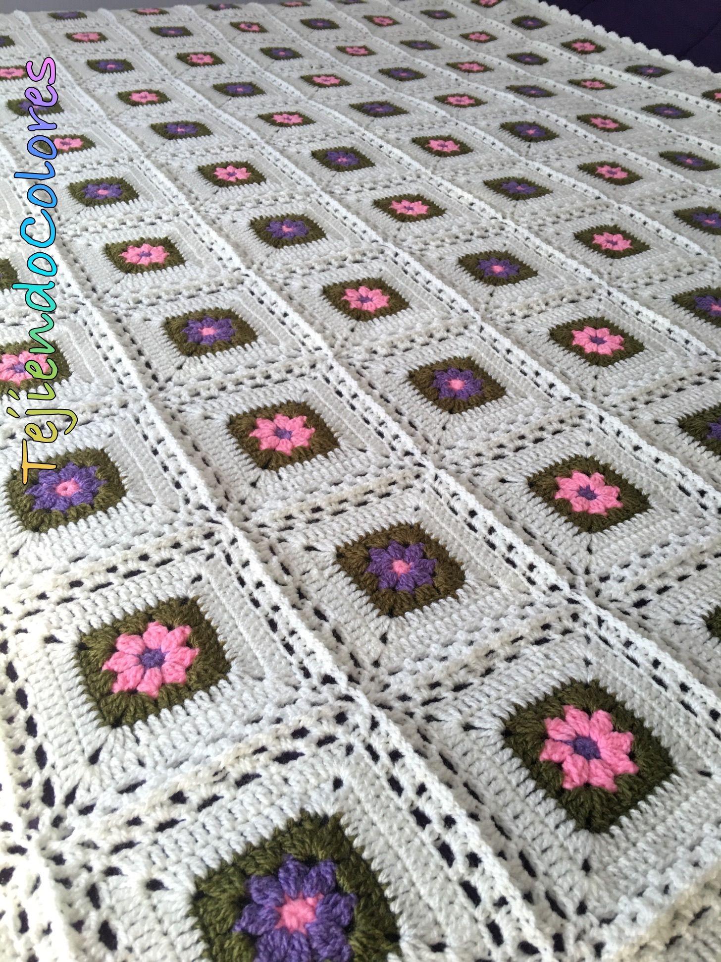 Manta Granny Flowers | Cojin | Pinterest | Carpeta y Bebé