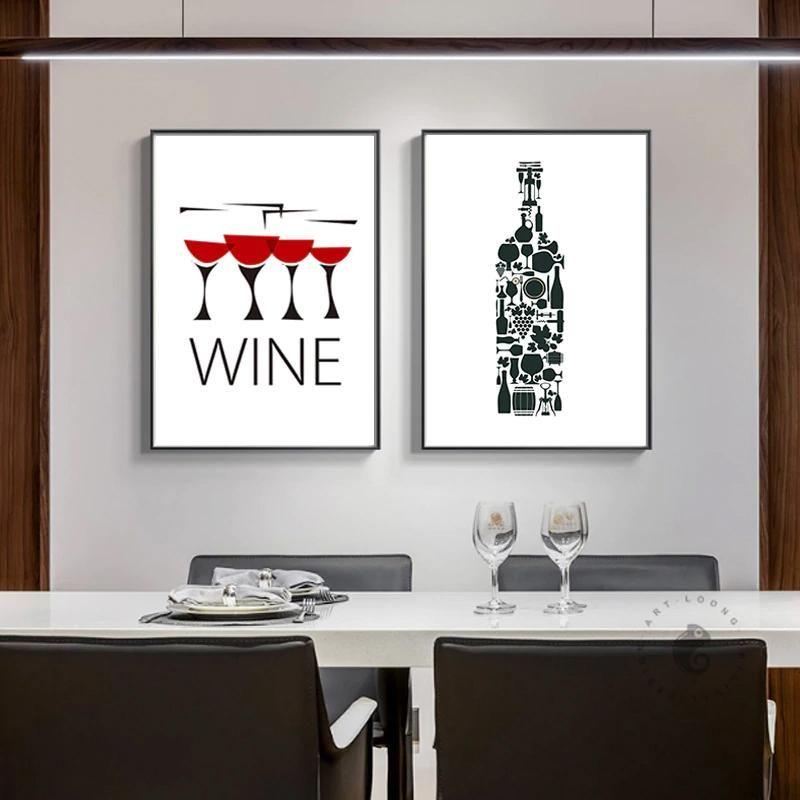 Wine Guide Kitchen Room Wall Art Canvas Print Minimalist Poster Bar Decor
