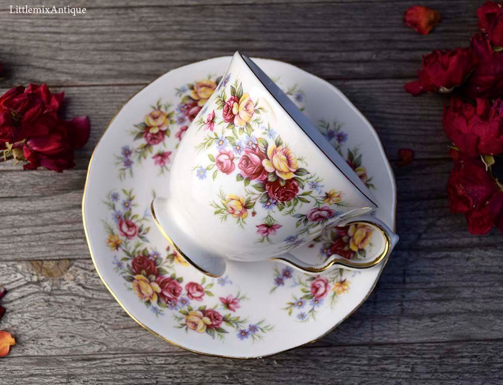 Vintage Royal Osborne Fine Bone China Made In England Pattern Nr 8671 Roses Design Teacup With Saucer Classical English China Cup Tea Cups Fine Bone China Bone China