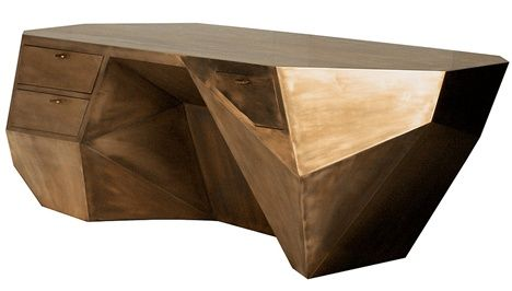 The Popova Desk by Sylvan Fiss of SylvanSF was inspired by the facets and unique geometric makeup of a gemstone. It is made of mahogany and brass
