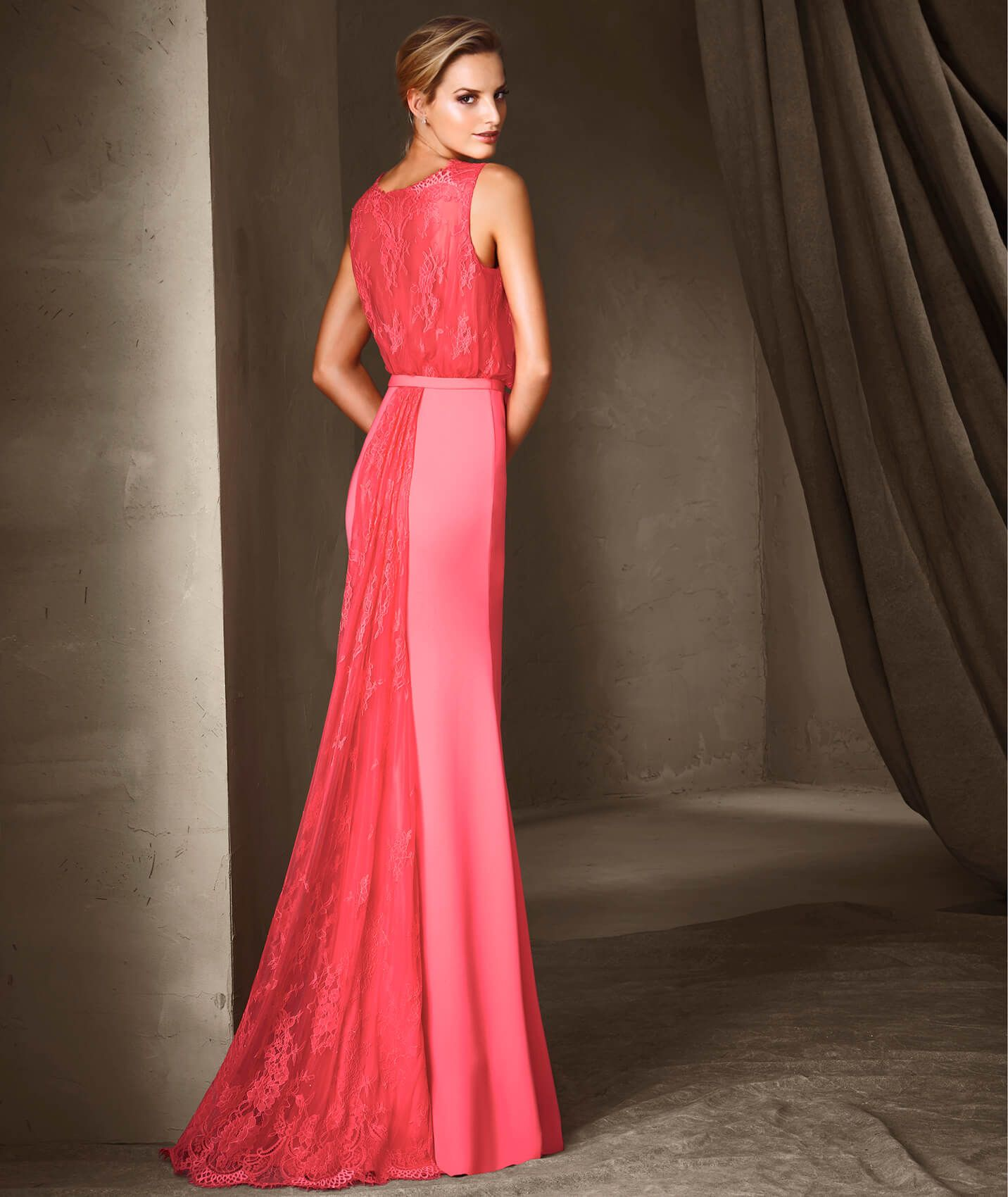 Flirty long dress in an exquisite combination of crepe and lace. The ...
