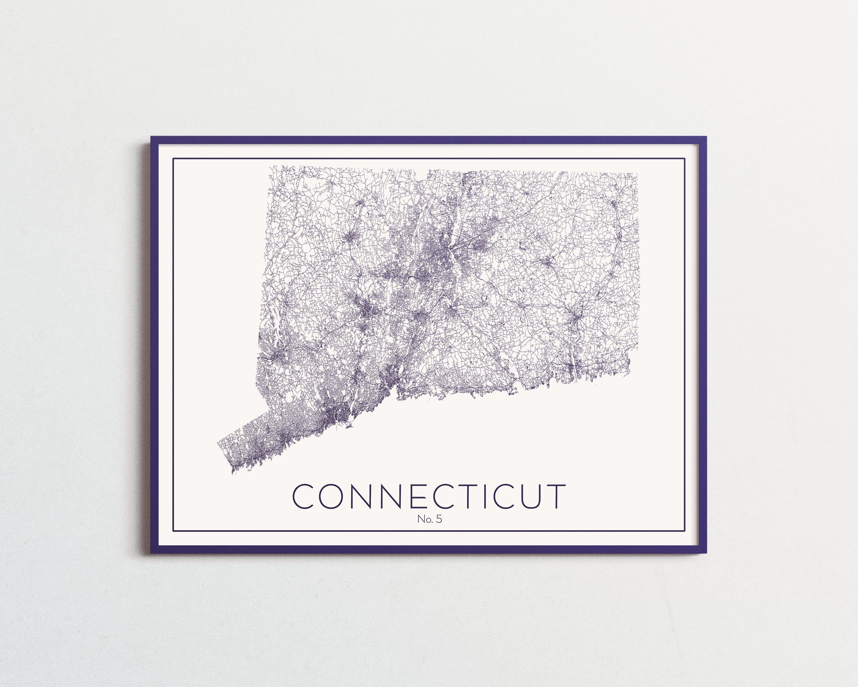 Connecticut Ct State Map Road Map Roadways Different Custom Etsy Wall Art Decor State Map Map Art