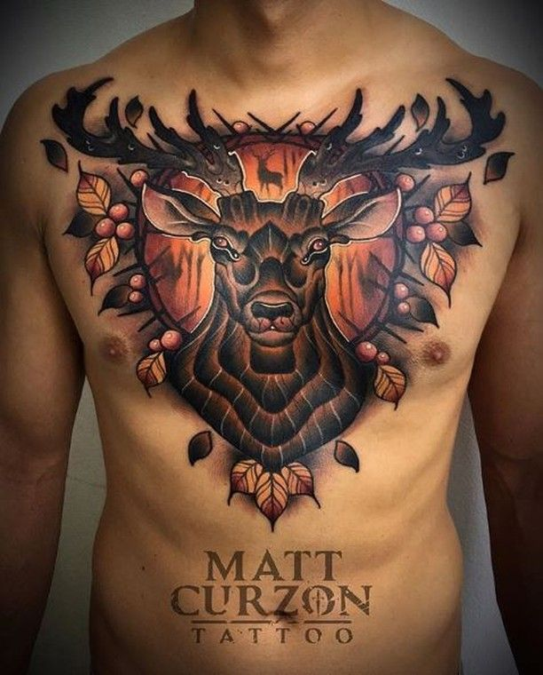 sick neotraditional chest piece by matt curzon tattoo