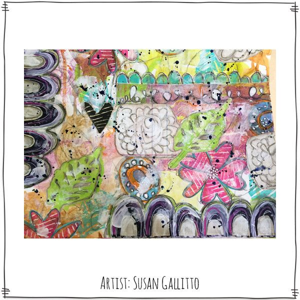 I'm totally loving this mixed media art by Susan Gallitto using the Dream Thicket Stamp Sheet from Paperbag Studios!