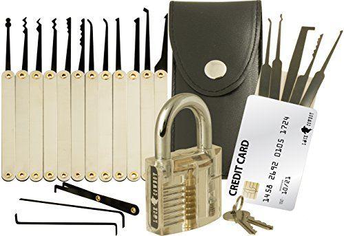 20-teiliges Lockpicking-Set mit Transparentem Vorhängeschloss /& Dietrich Kit im