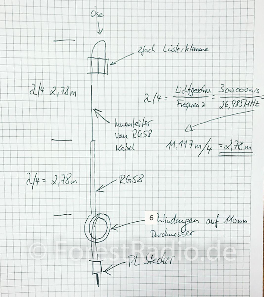 Bauanleitung: CB Funk Drahtantenne T2LT für 11m27MHz | Cb