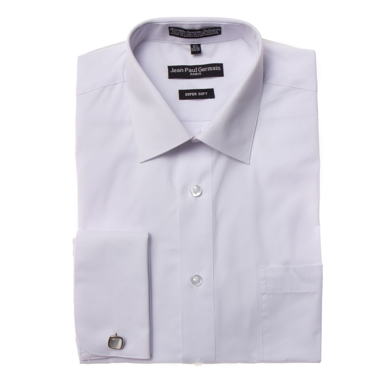 $59 Mens Slim Fit Easy Care 100/% Cotton Gray White Blue Striped Dress Shirt