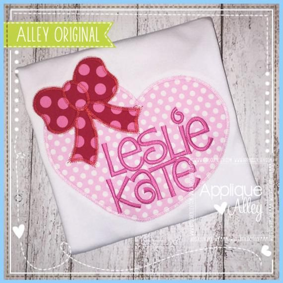 Zig Zag Heart With Bow Applique Embroidery Digital Design