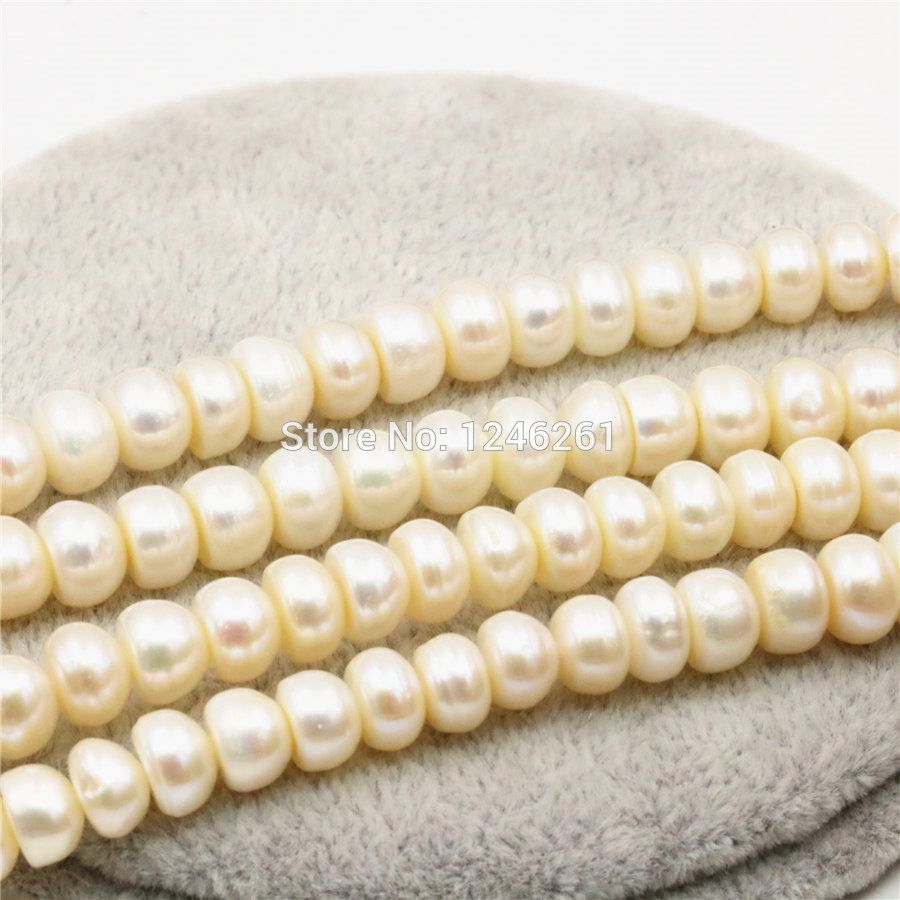 7-8mm Natural White Freshwater Pearl Lucky Loose DIY Beads Stones Abacus Jewelry Making Design Girls Hallowmas Gifts Accessories #Affiliate