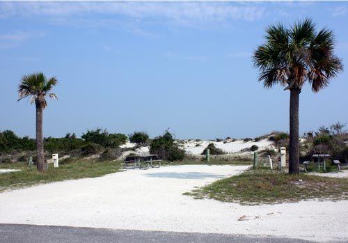Beach Campsite At Fort Clinch State Park In Fernandina Florida