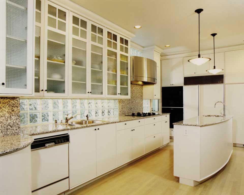 art deco | art deco kitchen (love the glass block backsplash/light