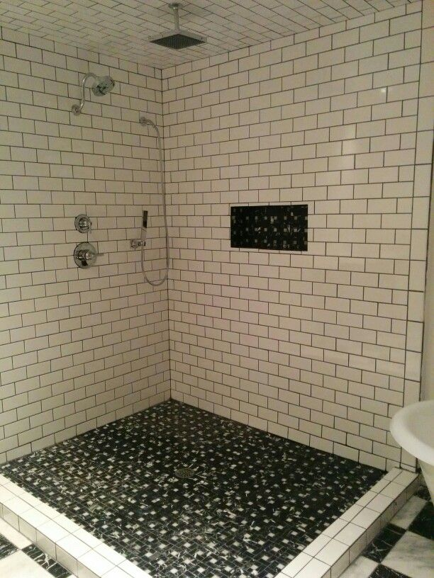 5 39 x6 39 shower with white subway tile black grout and - White subway tile with black grout bathroom ...