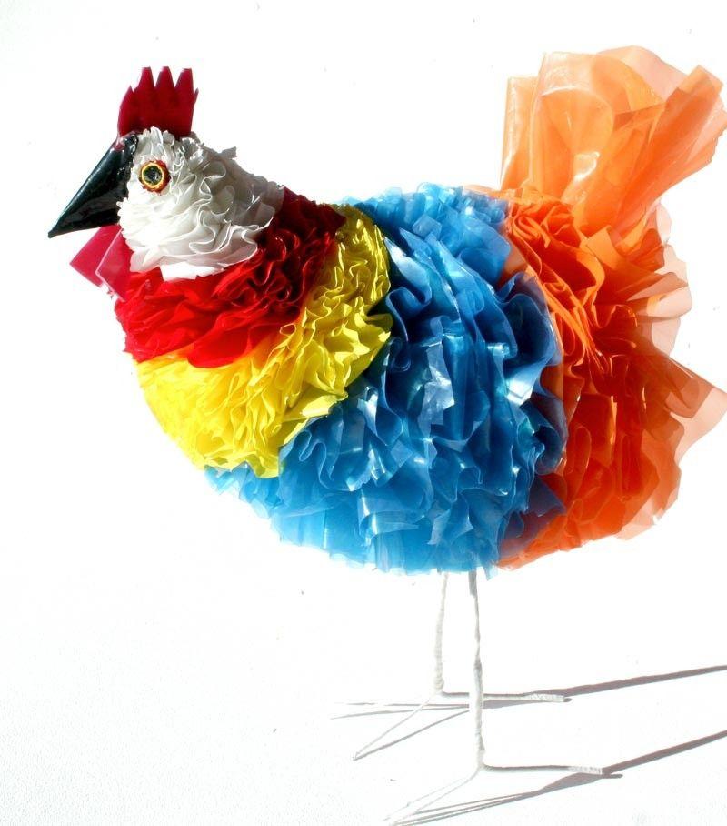 Recycled Plastic Handmade Chicken Artwork Sculpture Recycle ArtCraft ItemsUnique