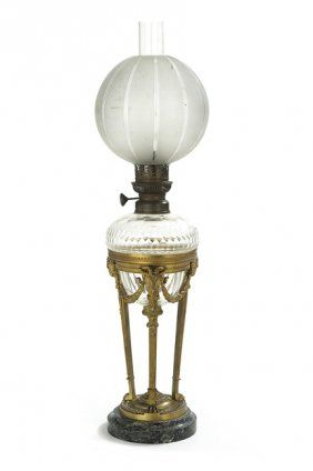 French marble bronze and glass banquet lamp keroseneoilcarbide french marble bronze and glass banquet lamp aloadofball Image collections