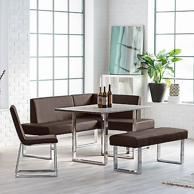 Corner Dining Set Breakfast Nook Leather Bench Chairs Table
