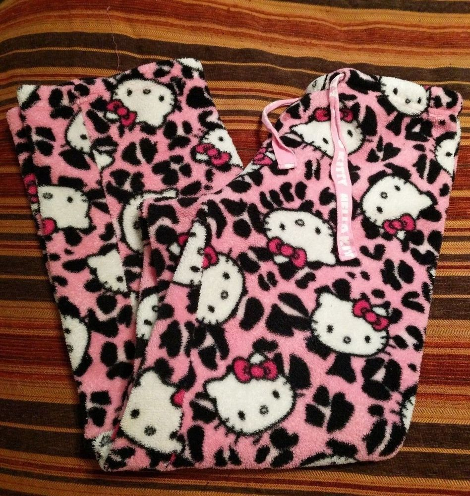 Details about Hello Kitty fleece pink & black bottom pants