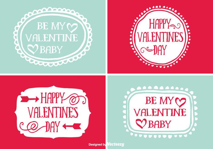 Free Cute Hand Drawn Style ValentineS Day Vector Labels  Flat