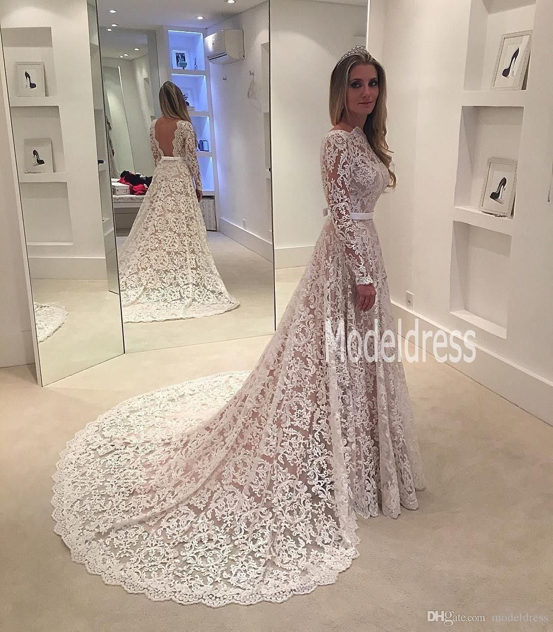 Long Sleeves Vintage Lace Wedding Dresses 2017 Arabic Lace Sheer ...