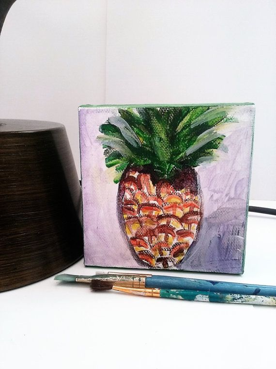 Merveilleux Pineapple Painting Fruit Artwork Food Art Still By QuirkyTraysee