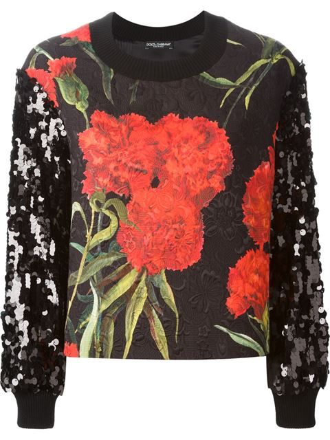 Shop Dolce & Gabbana sequinned Carnations print embossed sweatshirt in Stefania Mode from the world's best independent boutiques at farfetch.com. Over 1000 designers from 300 boutiques in one website.