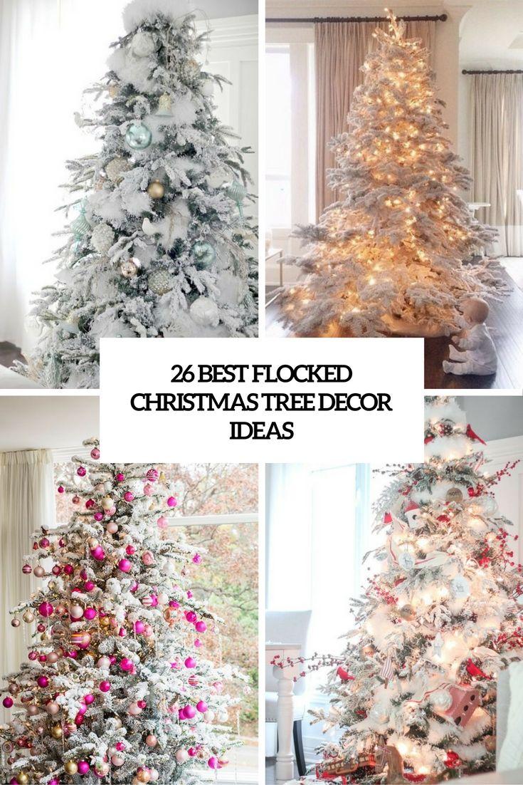 Tall Flocked Decorated Christmas Tree 26 Best Flocked