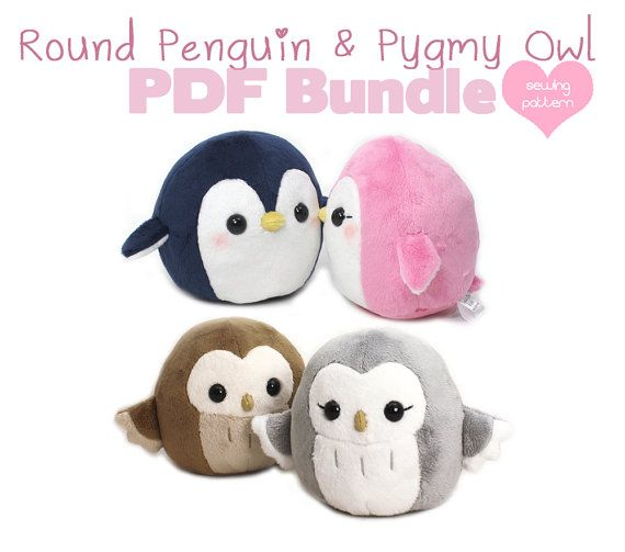 PDF sewing pattern bundle Owl and Penguin plush от TeacupLion ...