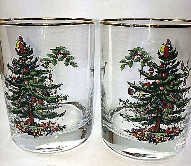 Set Of 2 Spode Christmas Tree Double old Fashion Glasses Gold Trim