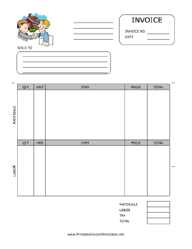 A Printable Invoice For Use By A Property Management Or Rental