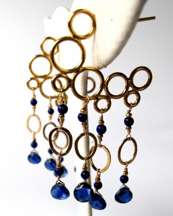 mermaid bubble hoops dripping with lapis lazuli and gem kyanite on 14k gold fill.  adove fine jewelry