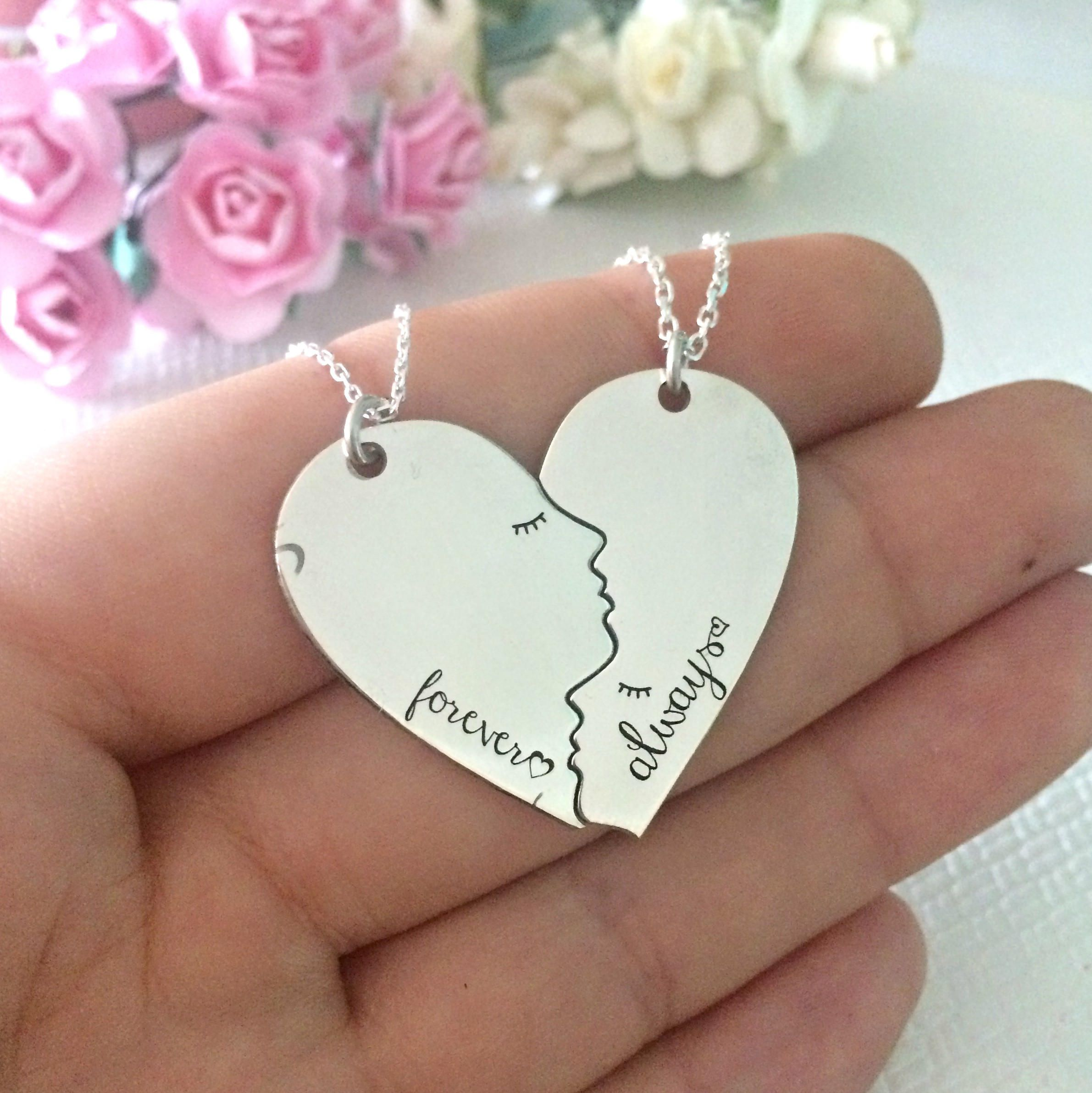 Valentines Day Gift Couple Necklace Set Sterling Silver Wife
