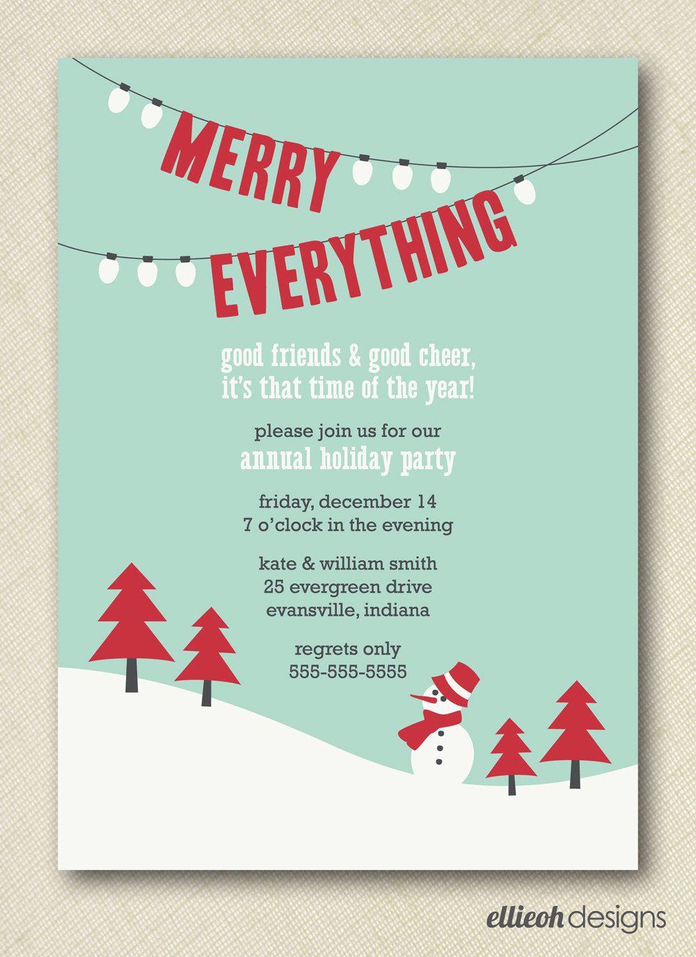 merry everything holiday party invite PRINTABLE 5x7 digital file DIY. $15.00, via Etsy.