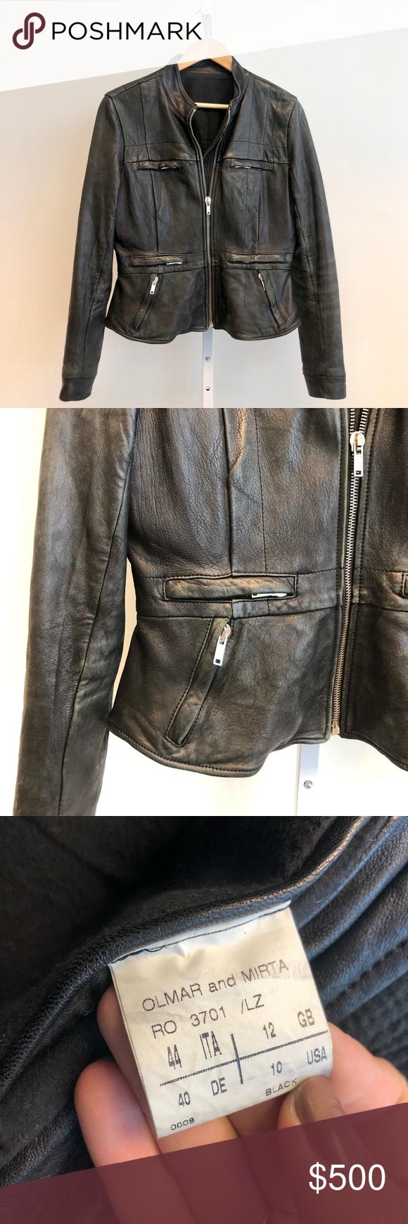 Rick Owens Distressed Leather Jacket IT44 Fits 6/8 Black