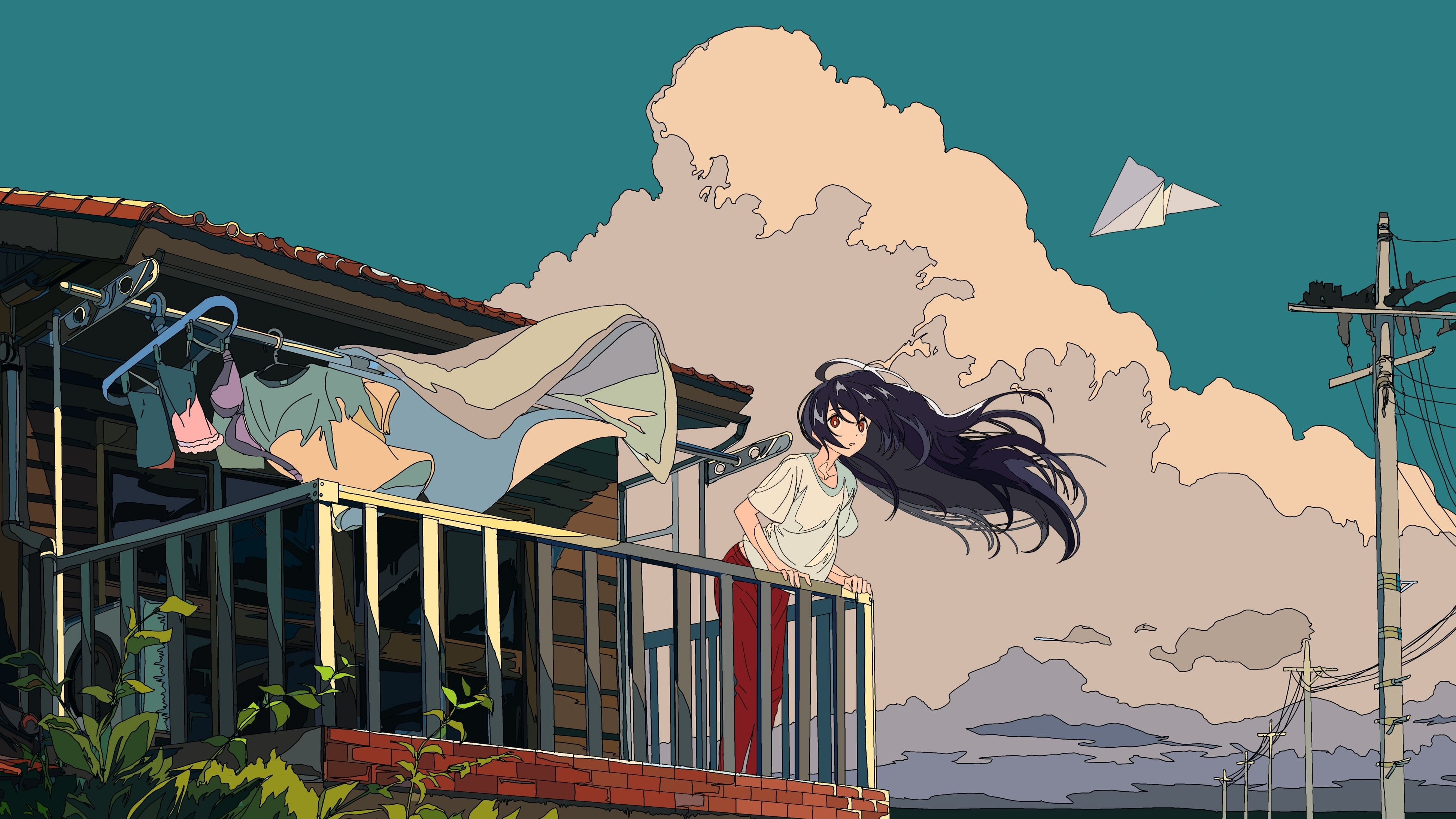 Black Haired Girl Anime Character Illustration Clouds Sky Cloth Bu Computer Wallpaper Desktop Wallpapers Anime Computer Wallpaper Anime Wallpaper 1920x1080