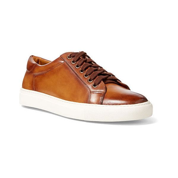 Ralph Lauren Sidra Calfskin Sneaker ($650) ❤ liked on Polyvore featuring  shoes, sneakers