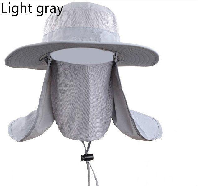 Women Man Outdoor Sport Hiking Fishing UV Protection Waterproof Bucket Cap  Wide Brim Plain Sun Hat With Face Neck Protection Item Type  Bucket  HatsPattern ... 9f14d698460