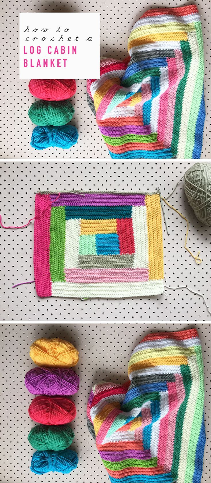 How To Crochet A Free-Style Log Cabin Blanket – a step-by-step ...