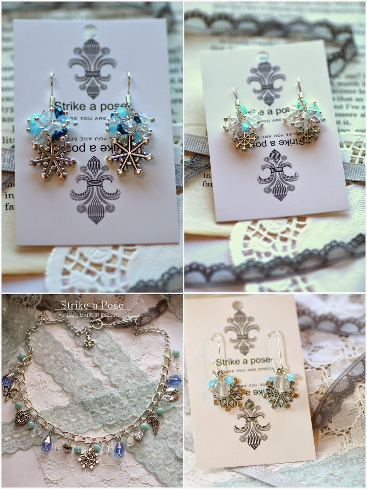 Holiday glitz snowflake earrings and necklace