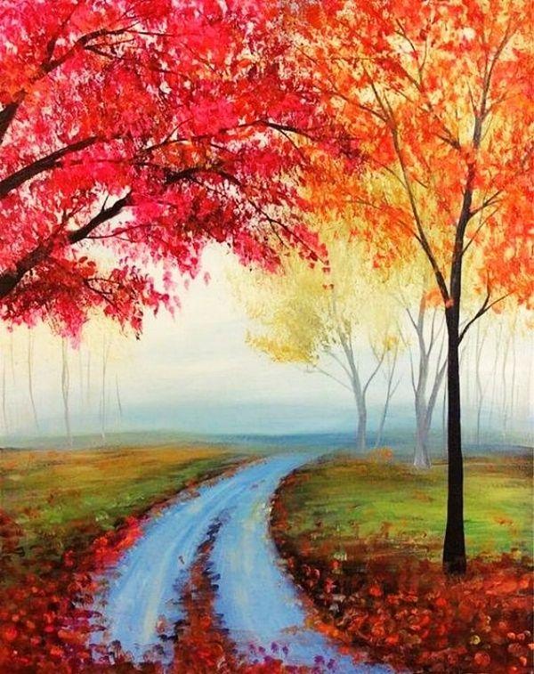 55 Easy Acrylic Painting Ideas On Canvas Easy Canvas Painting Simple Acrylic Paintings Autumn Painting