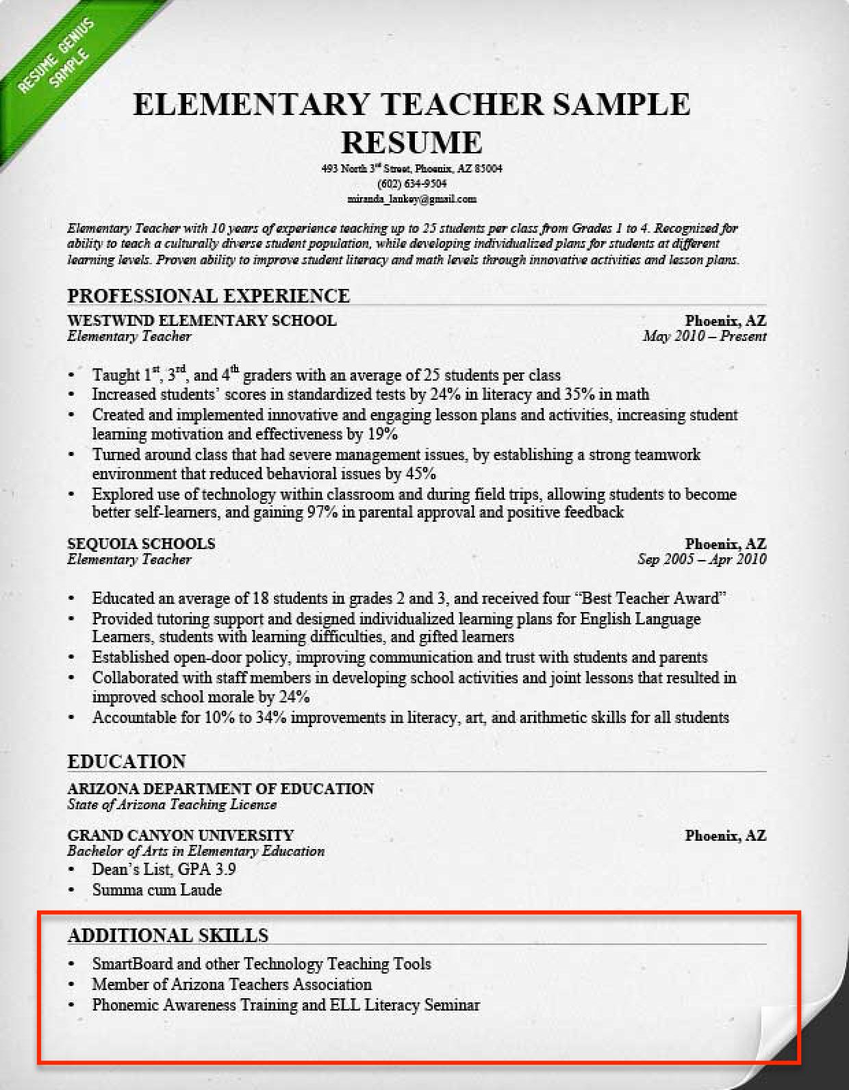 Skills On A Resume Examples Resume Skills Section Teaching Resume Resume Skills