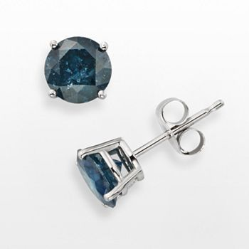 10k White Gold 1 1/2-ct. T.W. Blue Round-Cut Diamond Solitaire Earrings