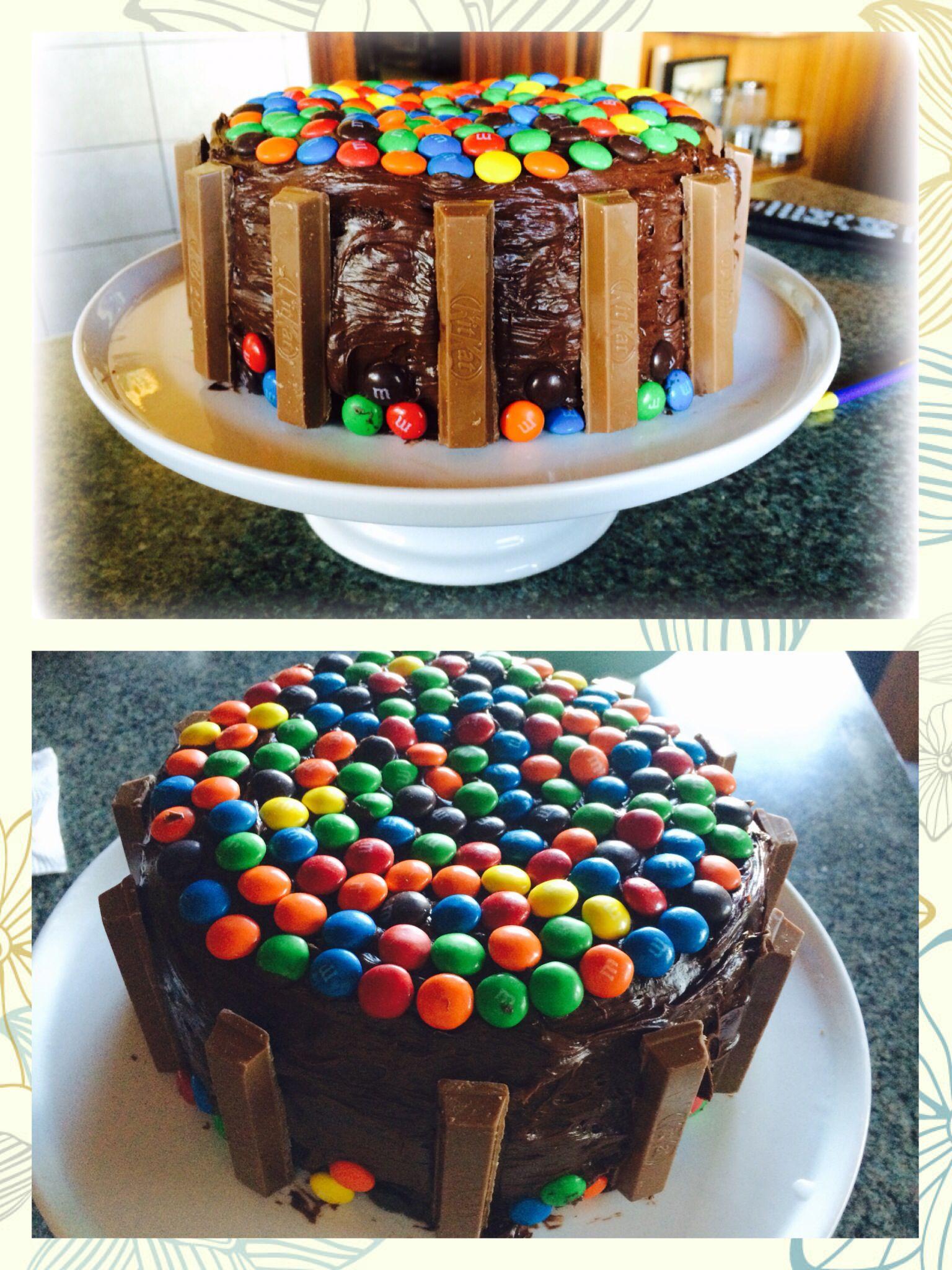 Pastel de chocolate con m&m y kitkat | De todo un poco | Pinterest