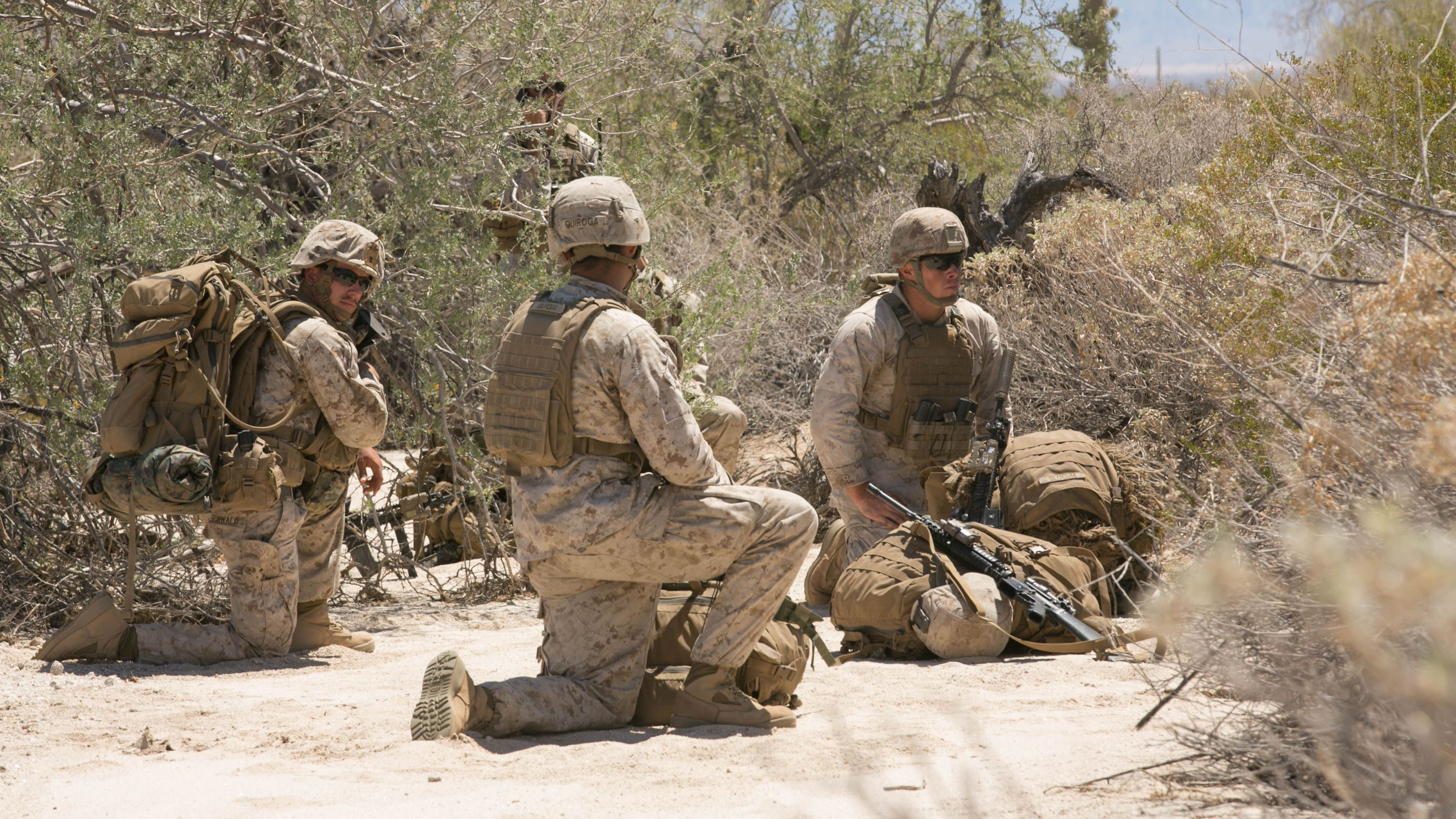 Scout Snipers With 2nd Battalion 8th Marine Regiment Wait For