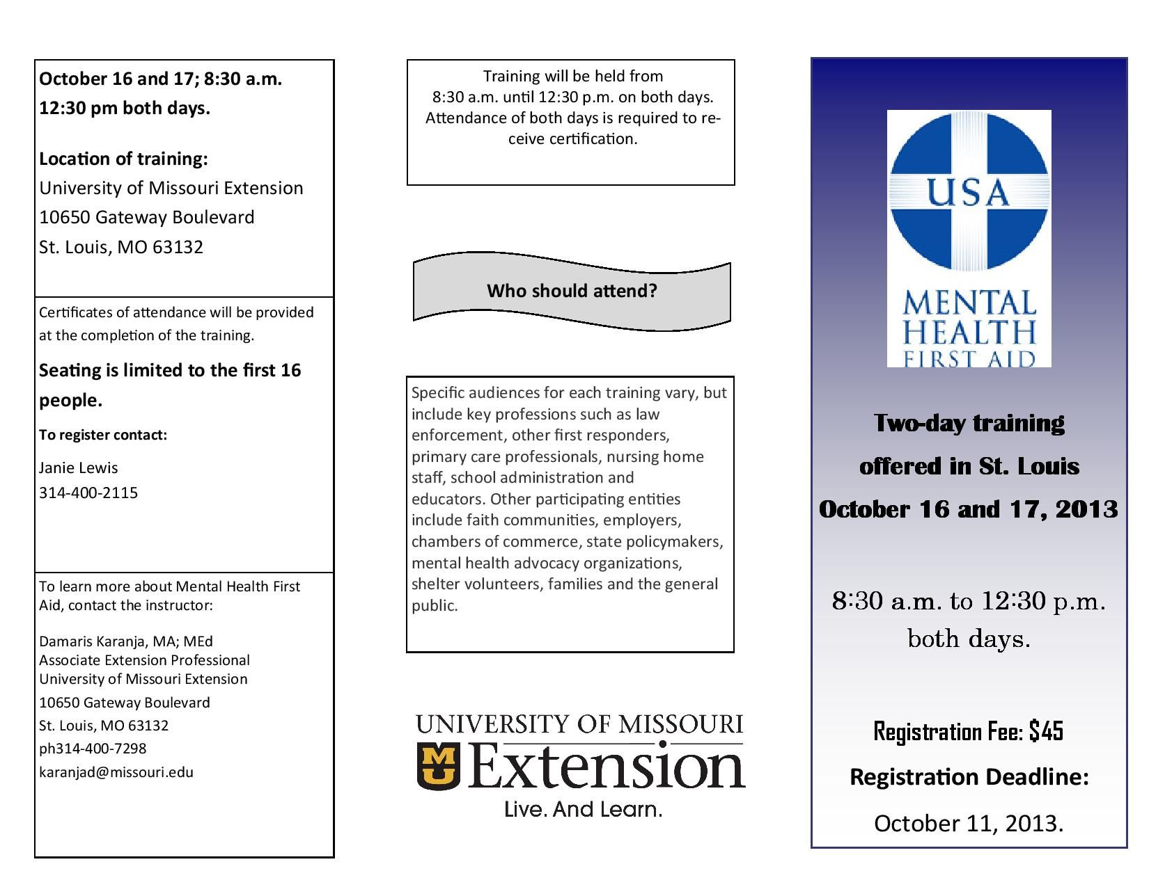 Mental Health First Aid Training October 16 & 17