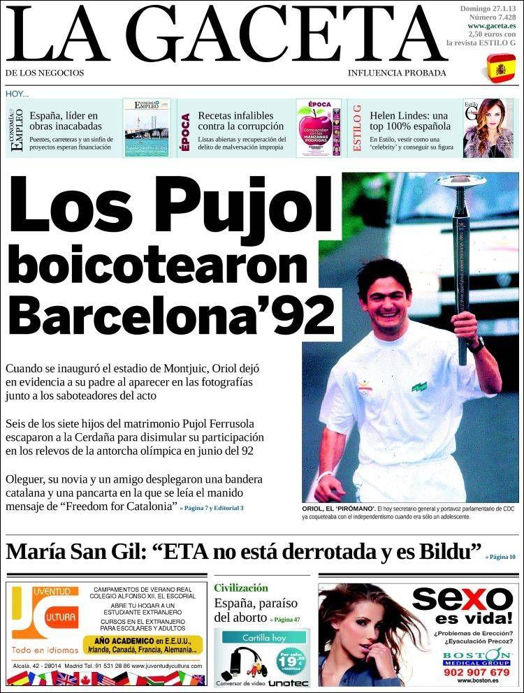 Los Titulares Y Portadas De Noticias Destacadas Españolas Del 27 De Enero De 2013 Del Diario La Gaceta De Los Negoc Portadas De Diarios Diario Español Portadas