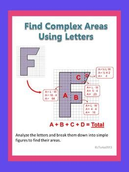 Find Complex Areas Using Letters  Students Math And Activities